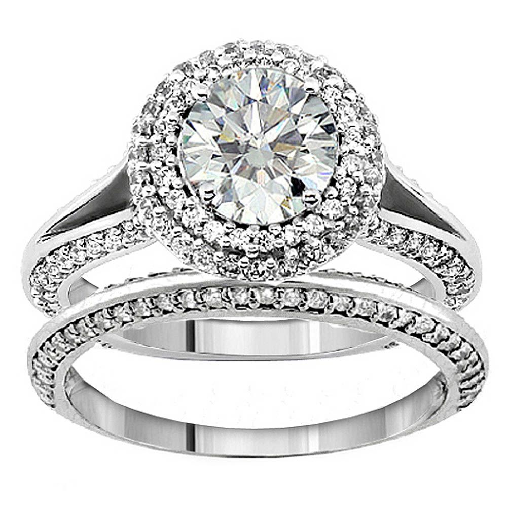 New Style 14k White Gold 5ct Tdw Diamond Bridal Ring Set