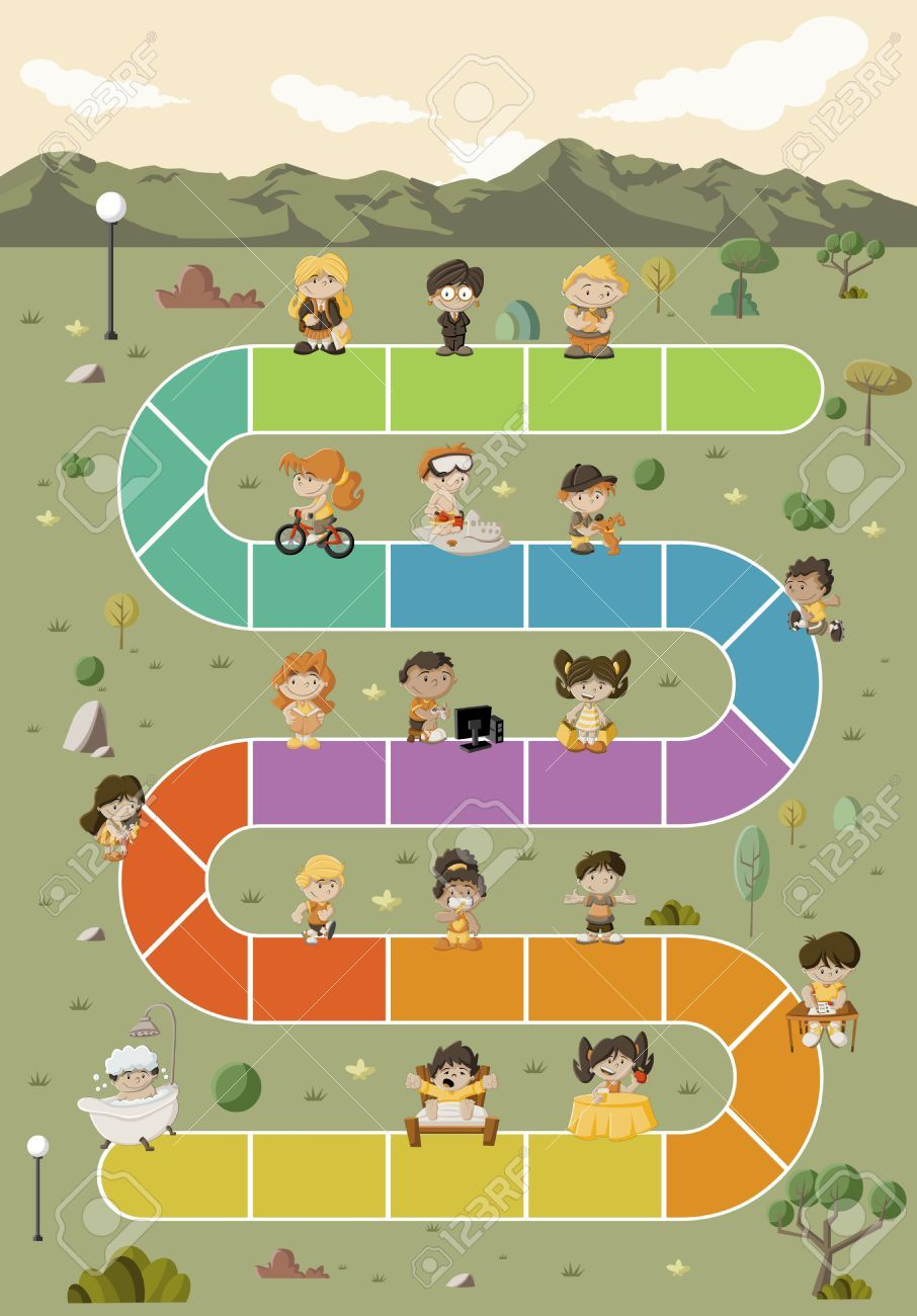 Board game with happy cartoon children playing over path