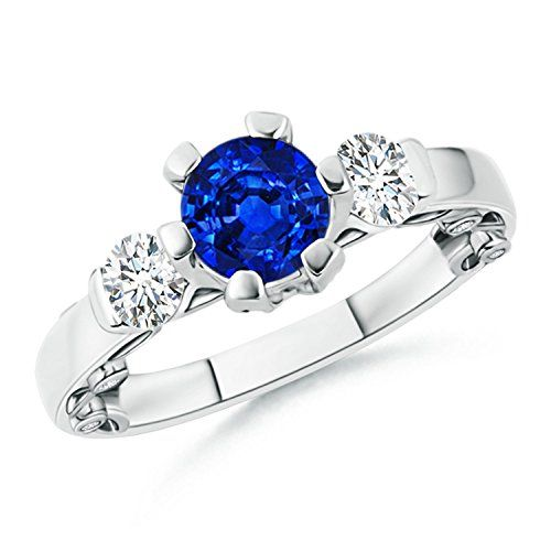 Angara White Gold Three Stone Blue Sapphire and Diamond Engagement Ring ngxRx
