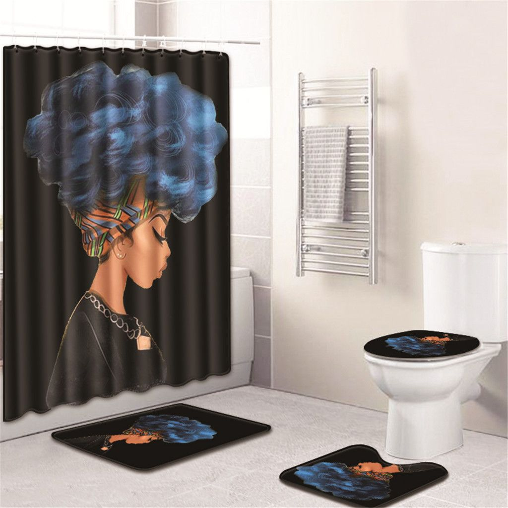 Home Shower Curtain Bathroom Mat Rug Toilet Cover Bath Pad Set