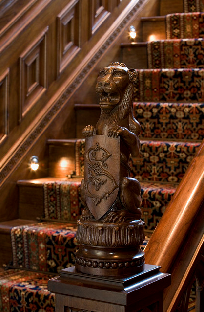 Gothic Newel Post Hand Carved By Agrell Architectural Carving Traditional Staircase Manor Tudor Style