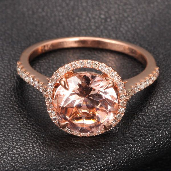 Round Morganite Engagement Ring.32ct Pave Diamond HALO Claw Prongs14K Rose Gold Wedding Ring by ThisIsLOGR on Etsy https://www.etsy.com/listing/155953200/round-morganite-engagement-ring32ct-pave