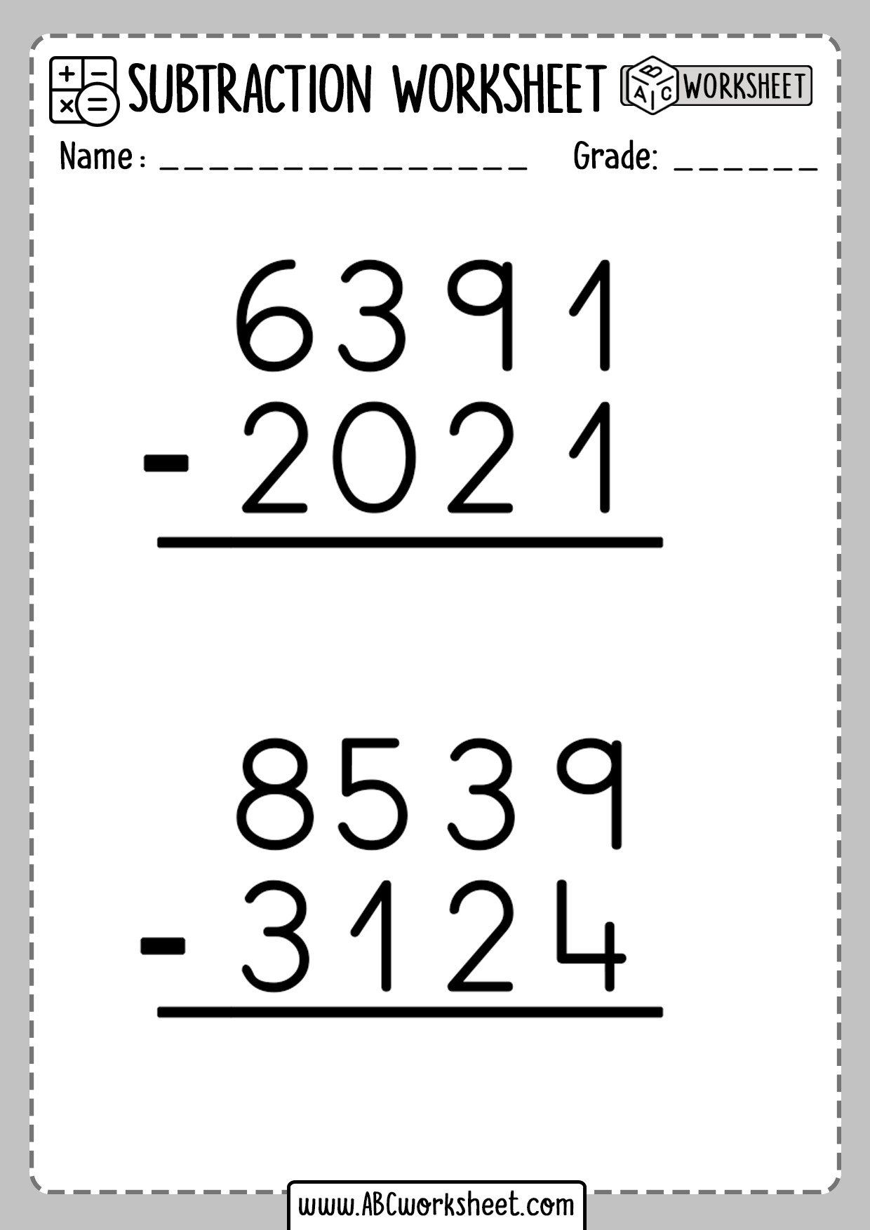 Subtraction with Regrouping Worksheet Math Subtraction No Regrouping Worksheets  Abc Workshe…   Subtraction with regrouping worksheets [ 1754 x 1240 Pixel ]