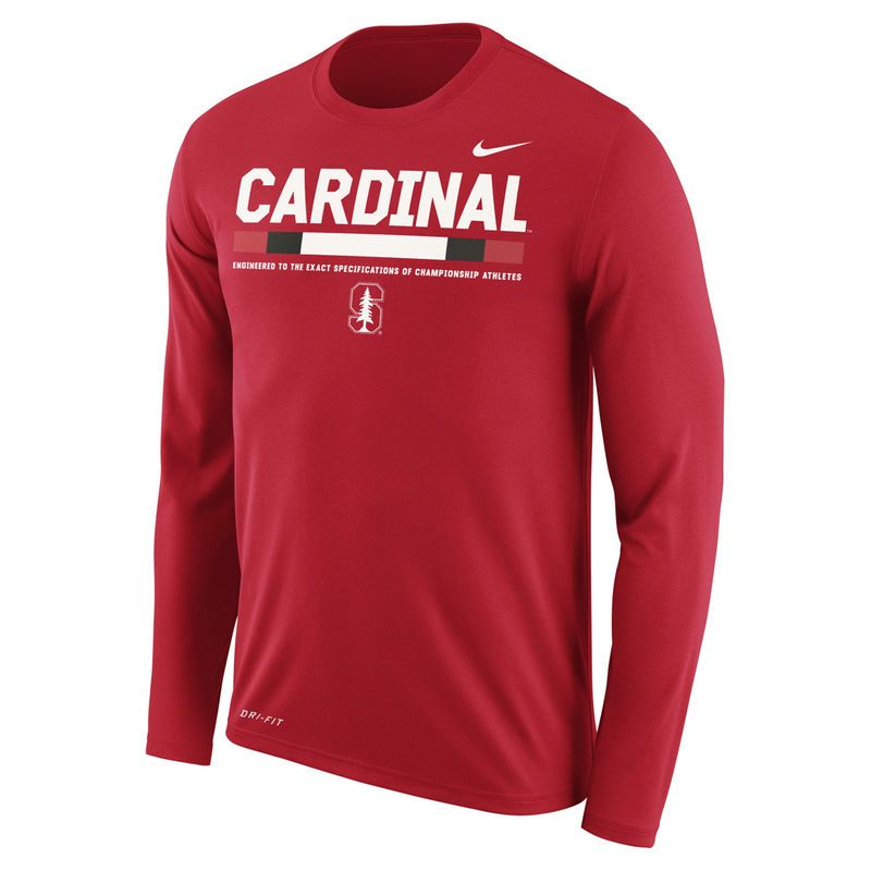 low priced 2579d 0eaa8 Men s Nike Crimson Stanford Cardinal Sideline Staff Long Sleeve Dri-FIT  Legend Long Sleeve T-Shirt