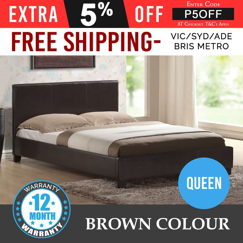 New Bed Frame Queen Size Pu Leather Wooden Slat Base High Padded