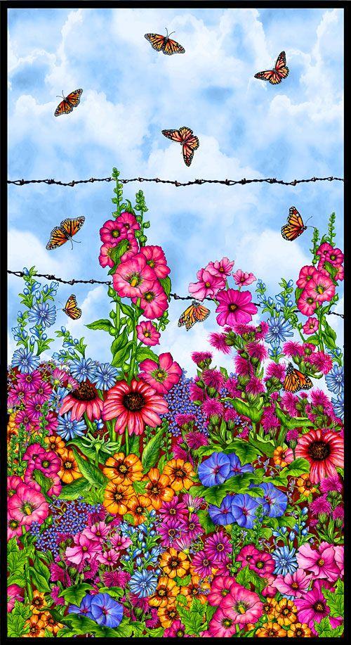 "Prairie Gate Monarch Butterfly Oasis 24"" x 44"" PANEL"