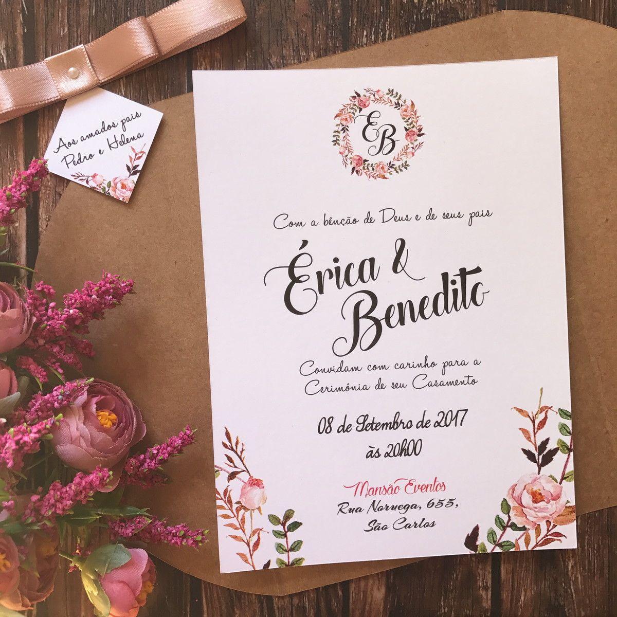 Convite de Casamento Rústico Floral Rose Nude R01 no Elo7