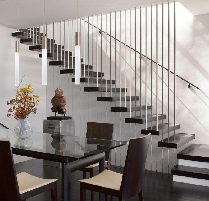 treppen geländer design esszimmer gläserner esstisch tischdeko ...