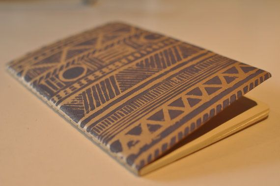Aztec lino print moleskine by TheThursdayProject on Etsy, £4.00