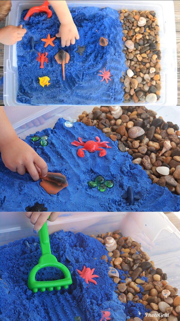 Photo of Ocean Kinetic Sand Recipe