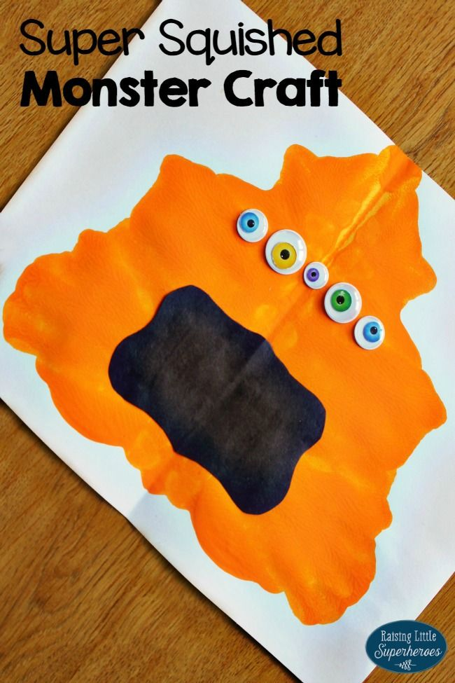 Kids will have a blast squishing paint in between a piece of paper and creating a Super Squished Monster Craft.