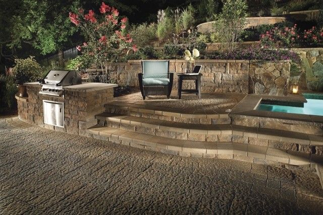 Backyard Designs With Retaining Walls block retaining wall retaining and landscape wall cipriano landscape design mahwah nj Retaining Wall Terraces For A Sloped Backyard