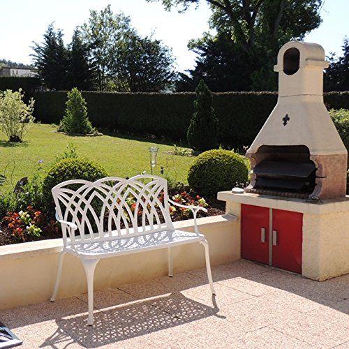 Lazy Susan Furniture - APRIL metal garden bench, White (N   - garten lounge mobel holz