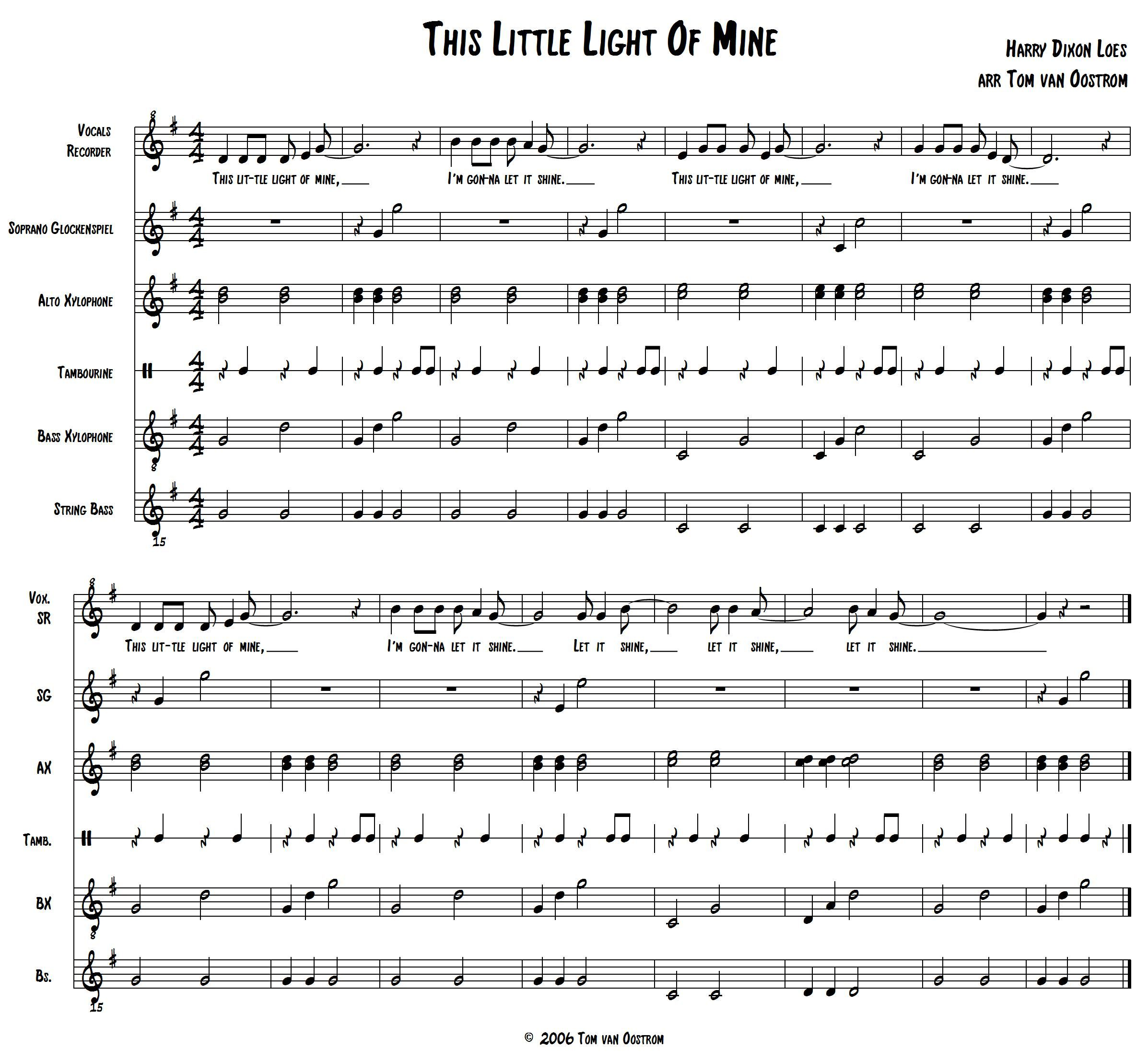 This Little Light Of Mine Orff Arrangement