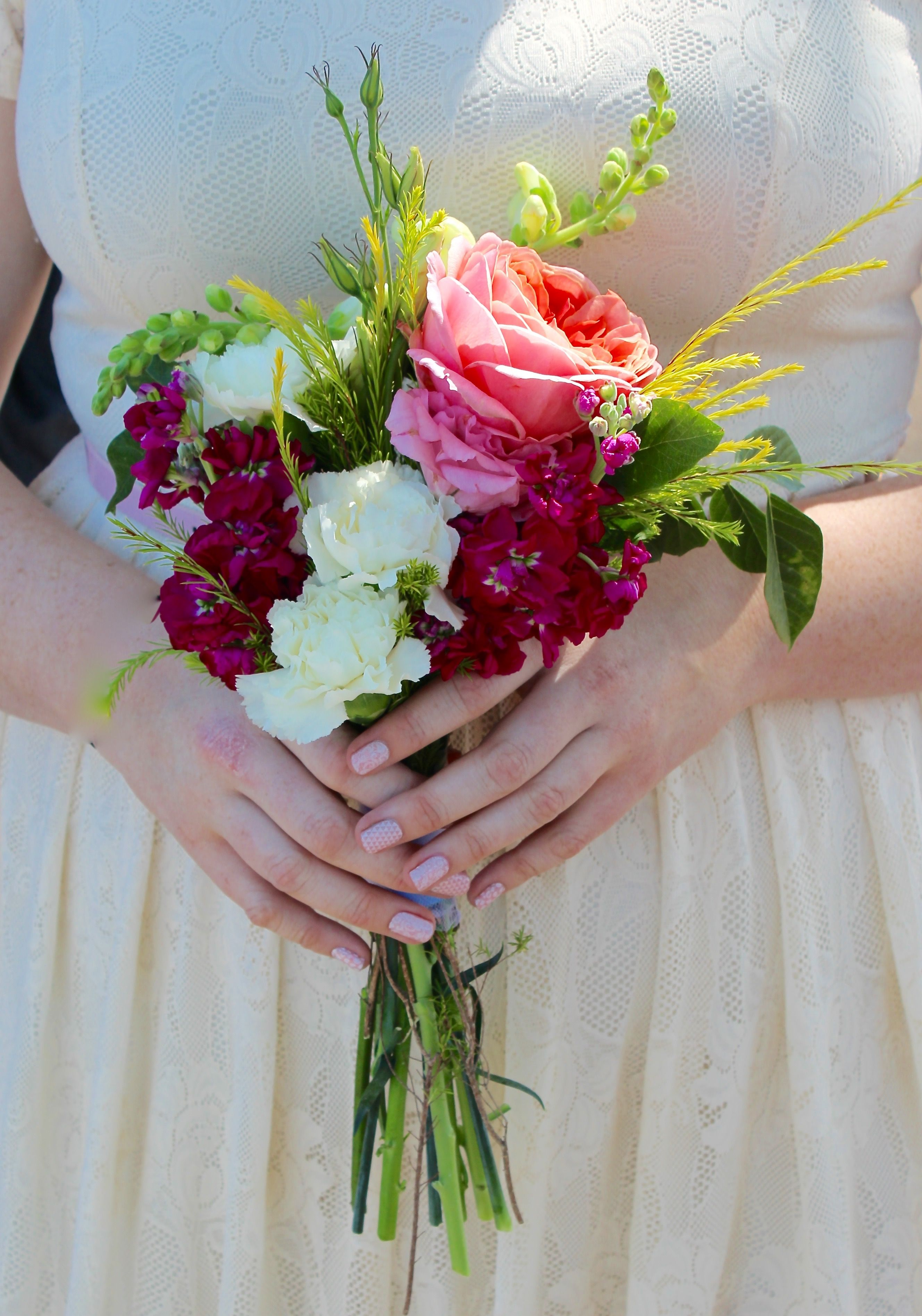 Bridesmaids Bouquet Small Nosegay With Antique Pink Cabbage Rose