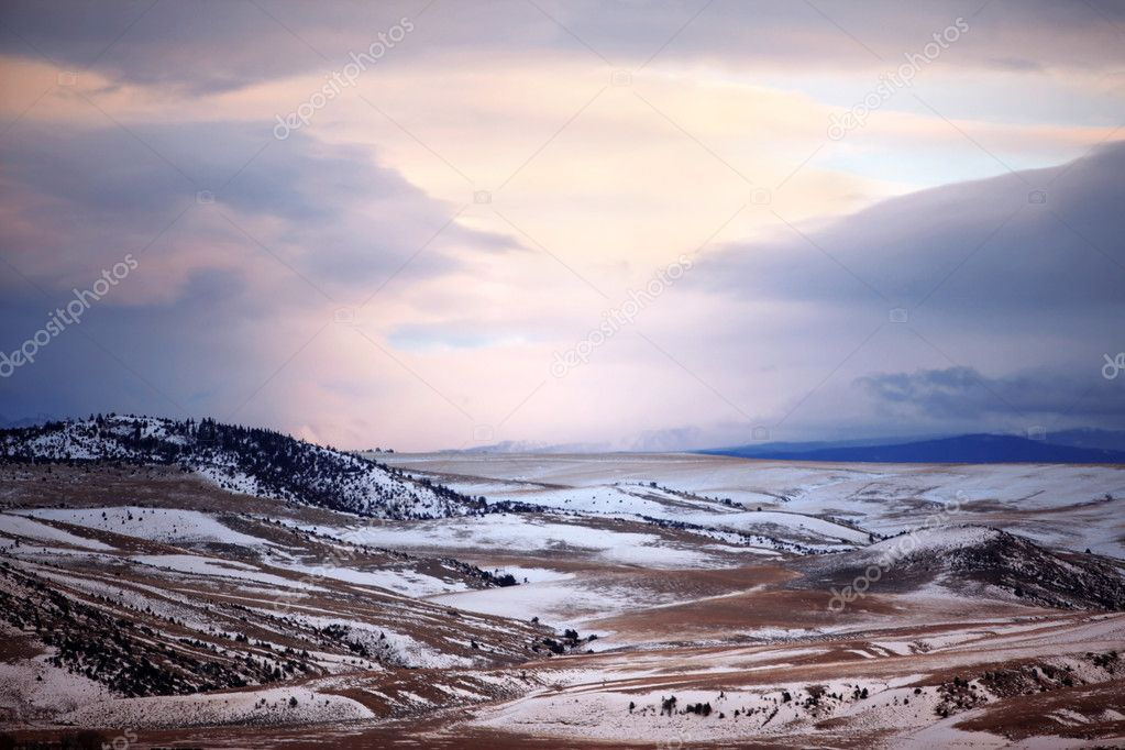 Winter season in rural area of Montana, USA Stock Photo