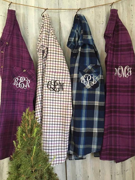 9fda9bbf3f 8 Bridesmaid Flannel Shirts Purple Blue MISMATCHED Plaid Flannel Girls  Night Out Shirt Monogrammed B