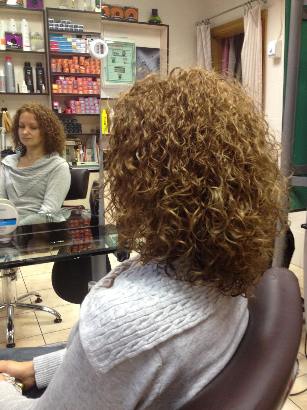 very even curl in this medium length perm | spiral perm