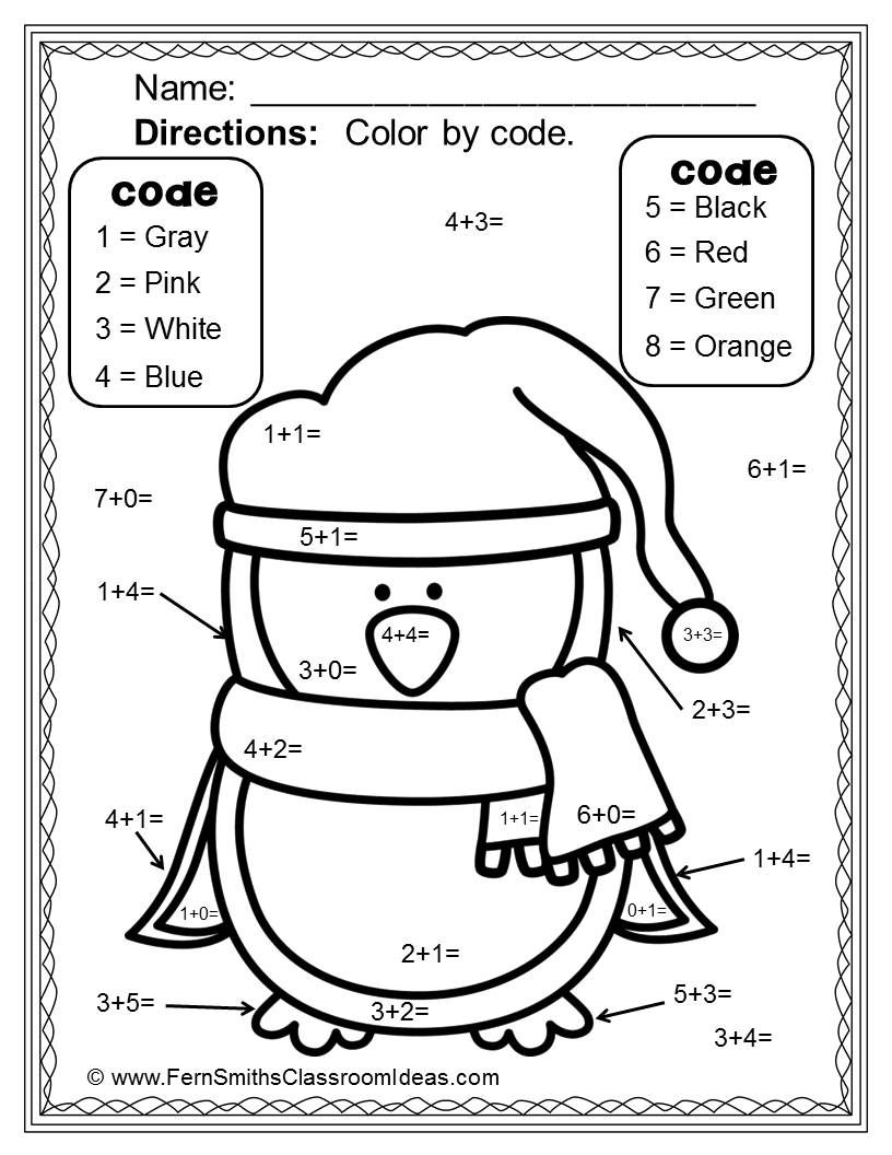 Winter Fun Basic Addition Facts Color Your Answers Printables Tpt Paid Addition Facts Teaching Math Winter Fun