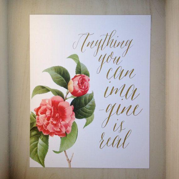 Typographic Print  Premium Art Print Flower by TheWoolberryPress, $23.00