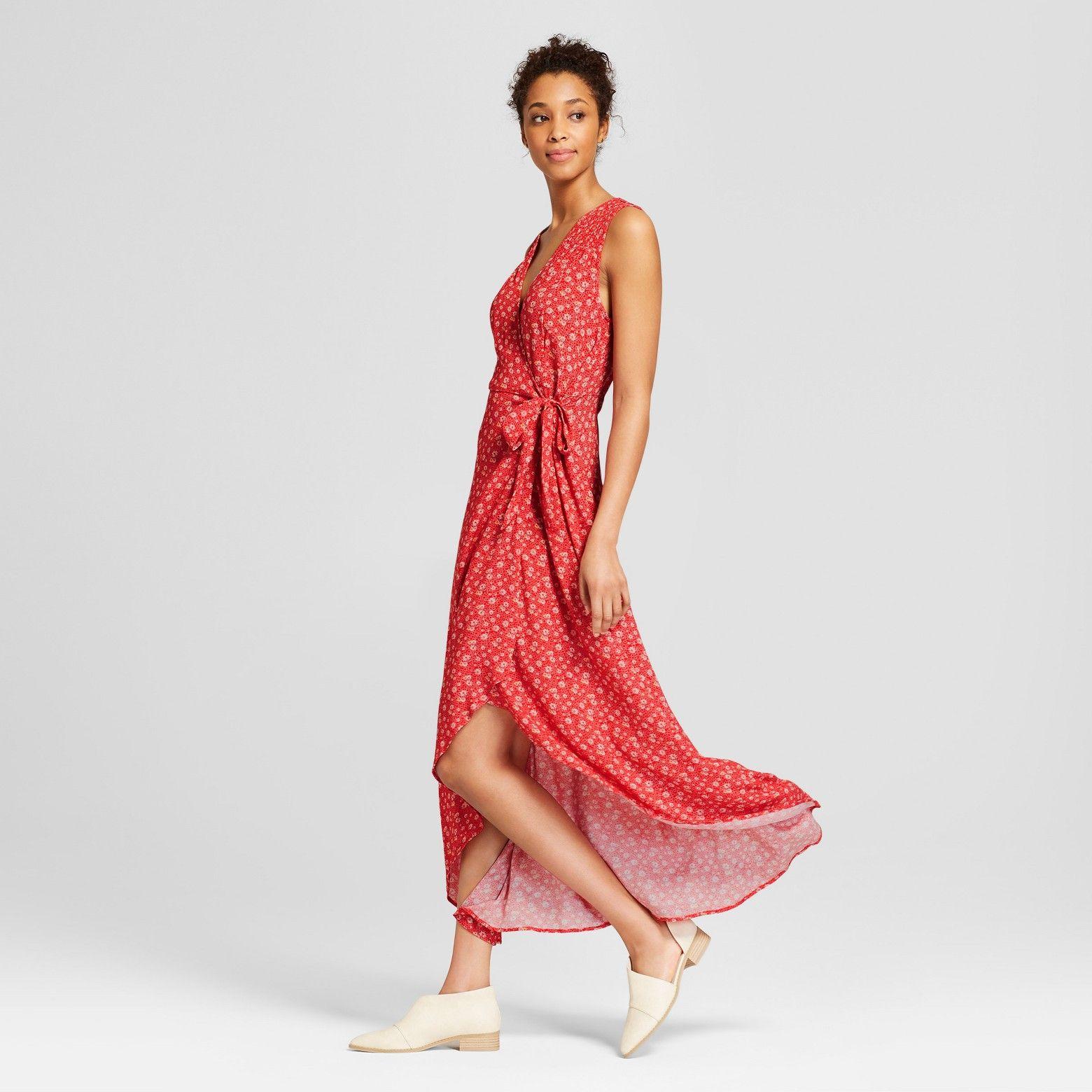 Women S Wrap Front Floral Midi Dress Universal Thread Red Target Floral Midi Dress Dresses Red Midi Dress [ 1560 x 1560 Pixel ]