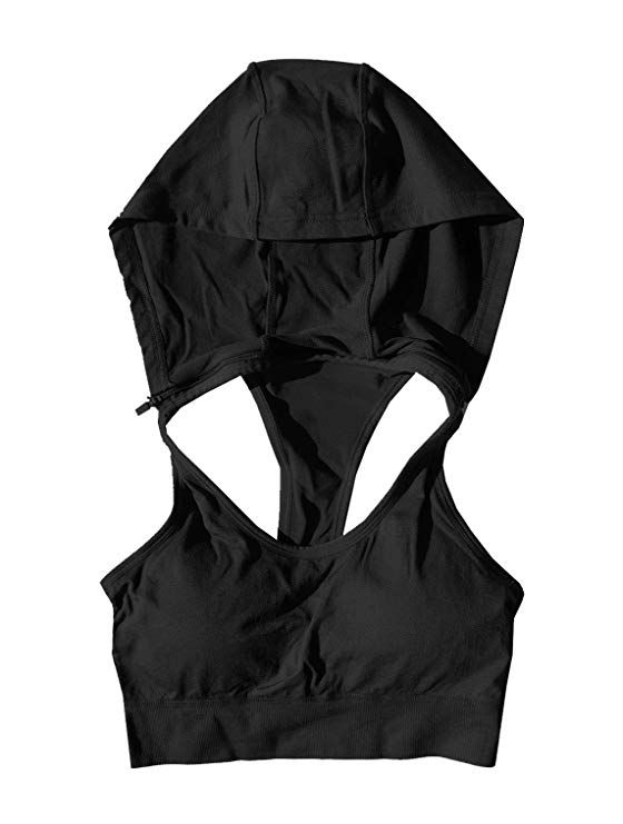 960f3083917 Runner Island Black Womens Sports Bra Hoodie Sports Bra Hoodie High Impact  Pads Inserts (Small Medium)