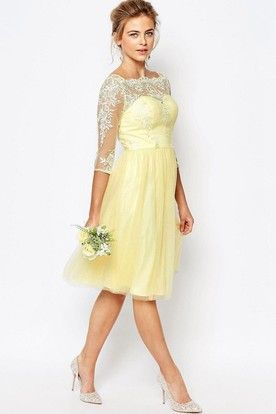 Vintage Lace Bridesmaid Dresses with Yellow