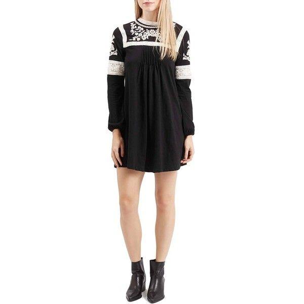 Topshop Embroidered Shift Dress ($68) ❤ liked on Polyvore featuring dresses, black, embroidered shift dress, pleated dress, shift dress, embroidery dress and black dress