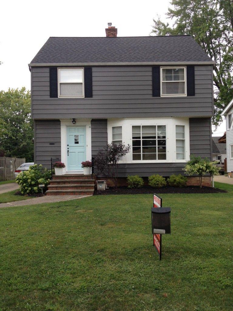 Gray house white trim black shutters dark grey houses - Door colors for gray house ...