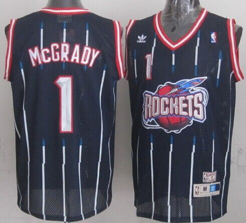 3484fe775939 Houston Rockets  1 Tracy McGrady ABA Hardwood Classic Swingman Navy Blue  Jersey