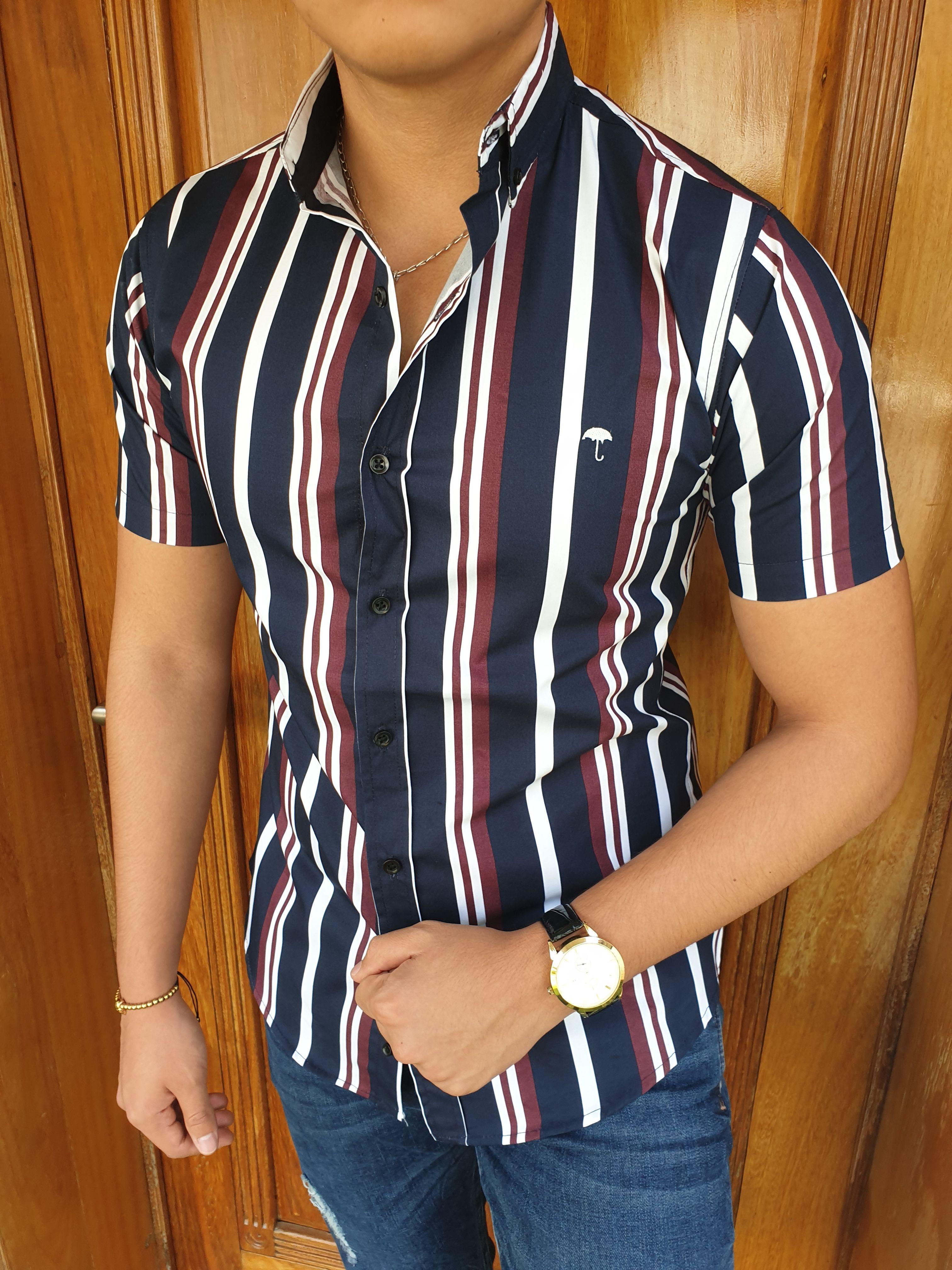 Camisa De Franjas Marino Blanca Y Vino Camisas Camisa Con Franjas Consejos De Moda Masculina