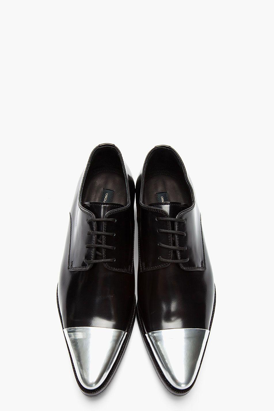 eda717b519bdb Black Silver Cap Toe Derby Leather Dress Shoe! Black is the color ...