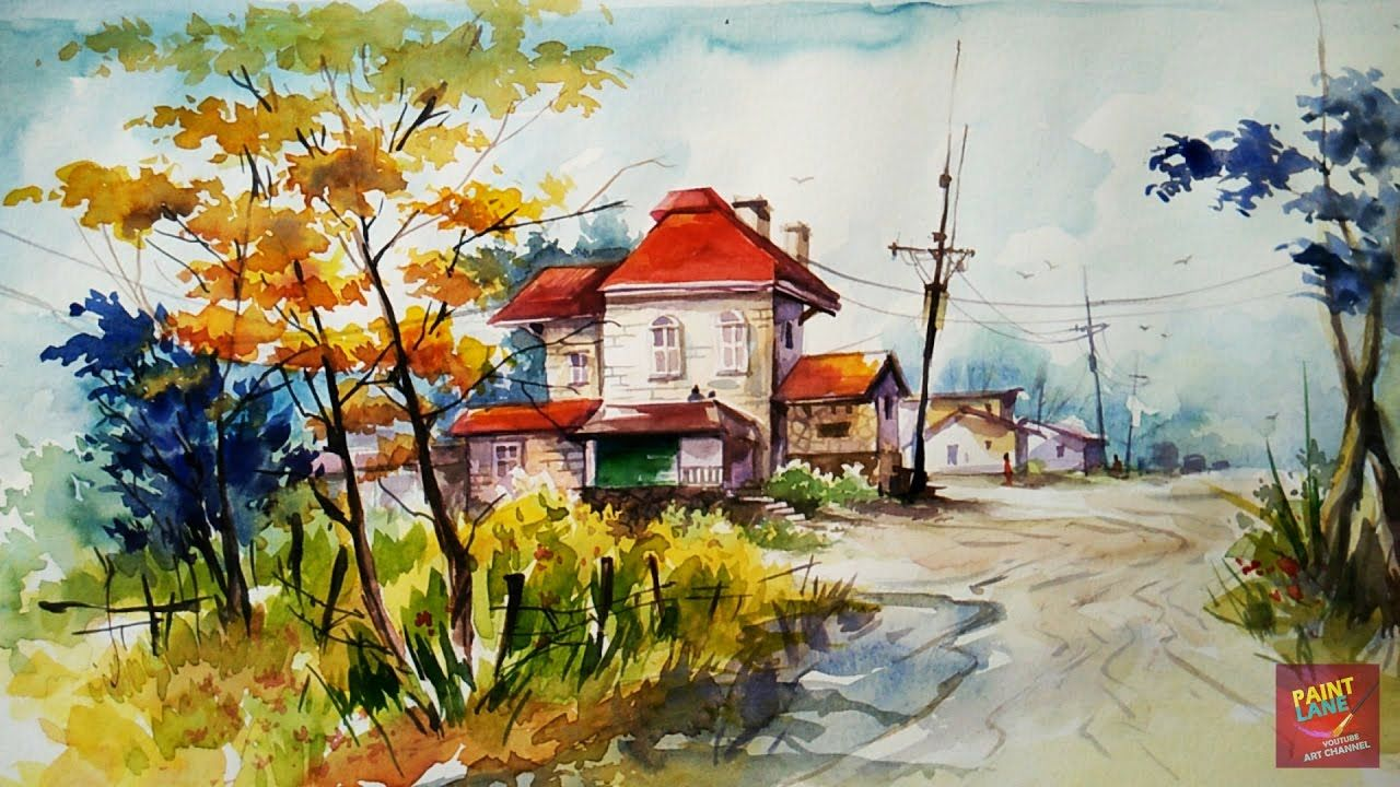 How To Color A Simple And Easy Landscape With Watercolor By Paintlane Watercolor Landscape Paintings Landscape Paintings Watercolor Landscape