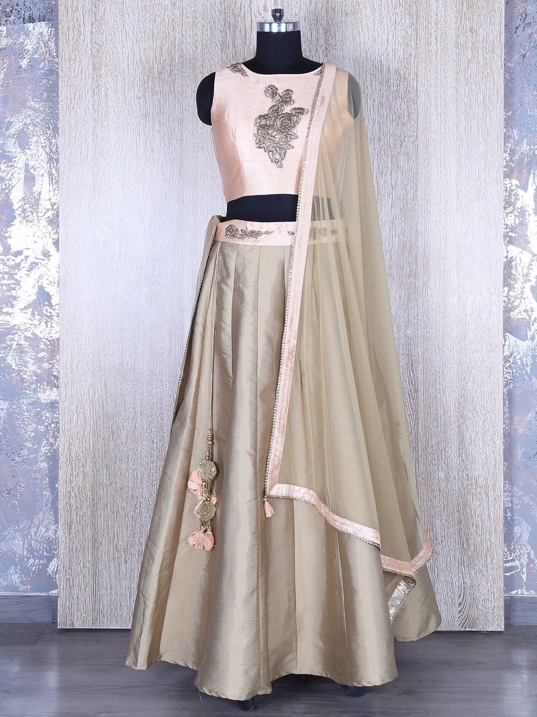 617ef611e6 Hover to zoom Beige And Pink Silk Lehenga Choli | Buy G3 Exclusive ...