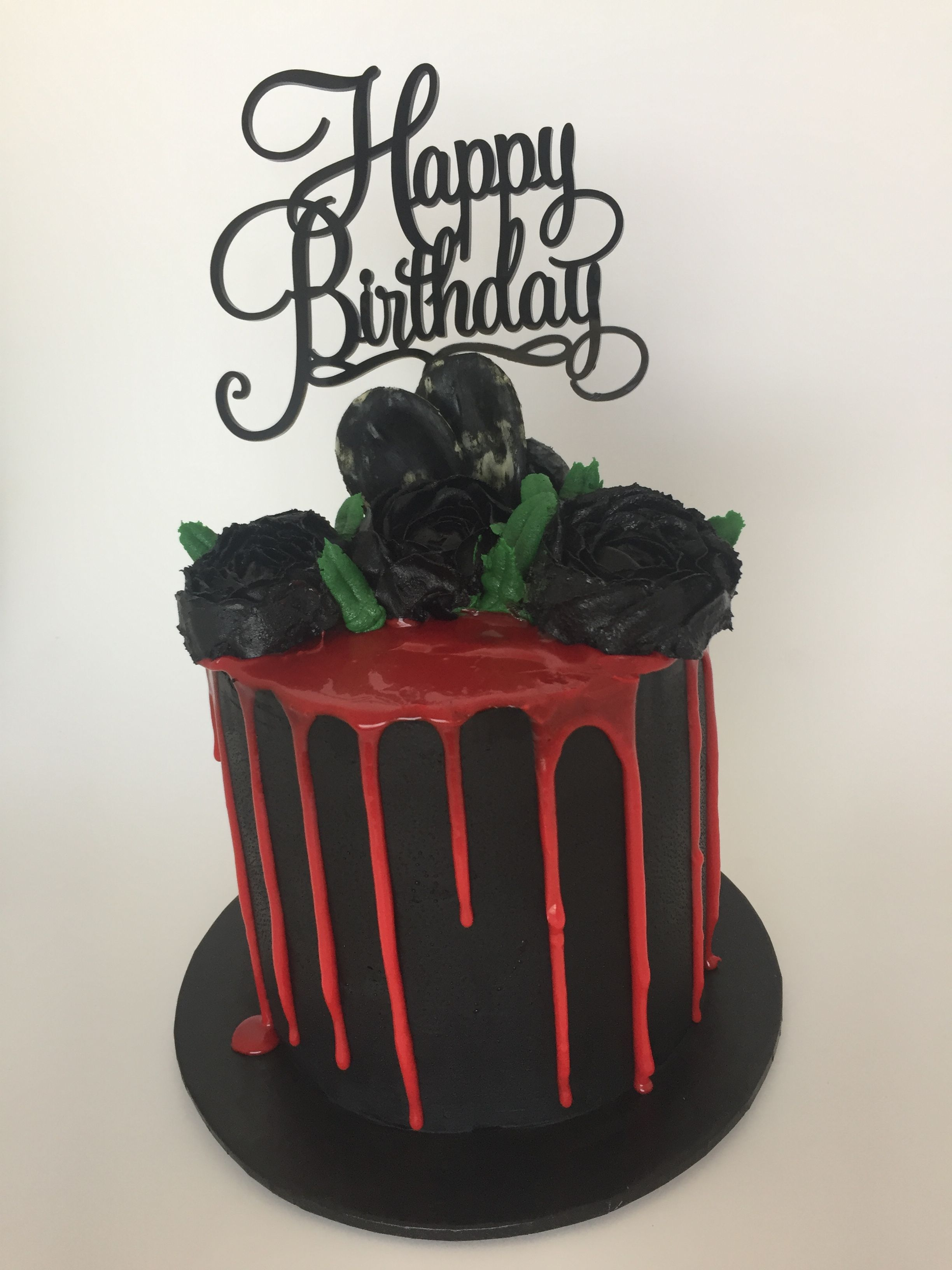 Surprising Black Rose Cake Black Buttercream With Red Chocolate Drip Black Funny Birthday Cards Online Inifodamsfinfo
