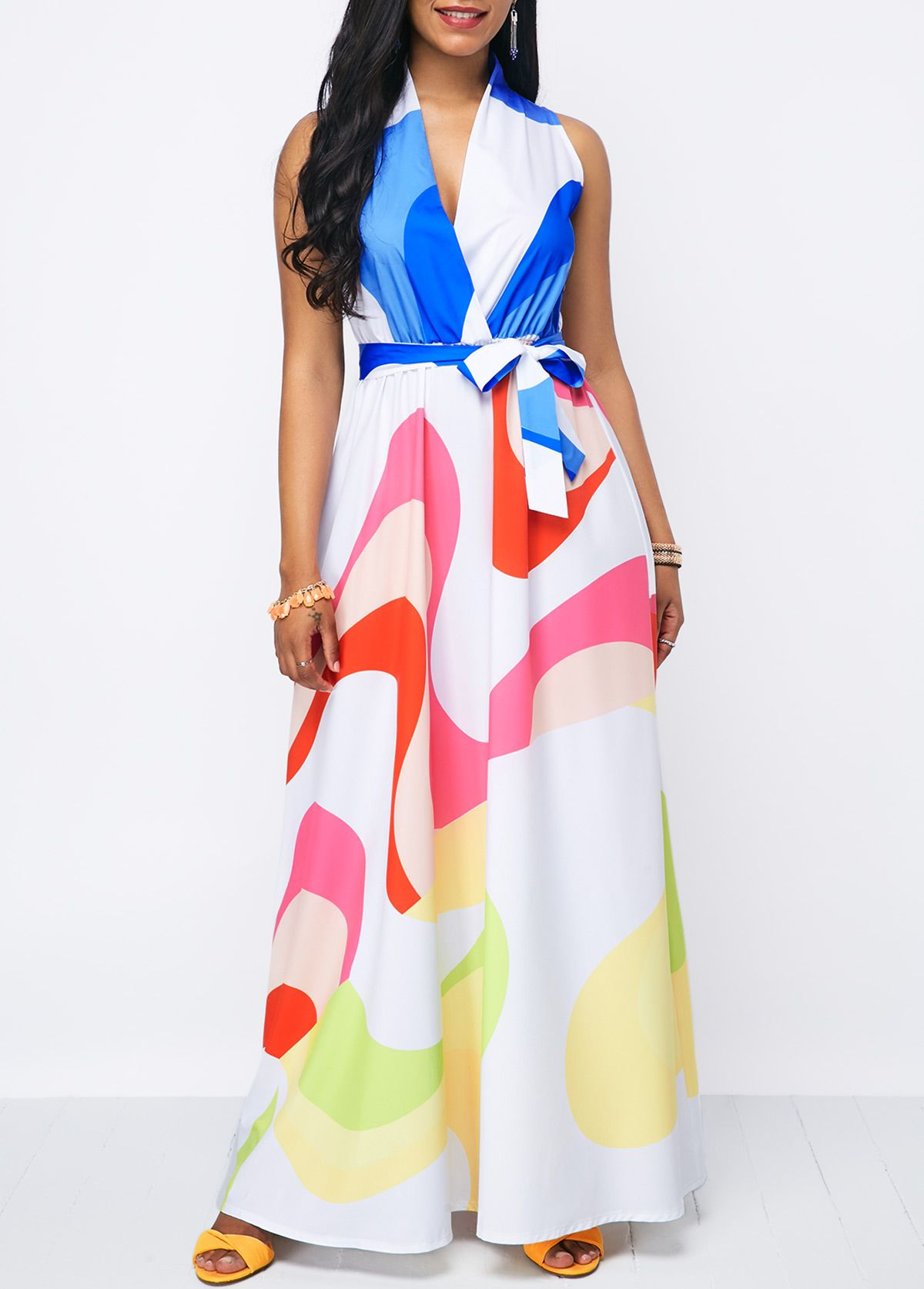 Printed belted v neck high waist dress products interested in