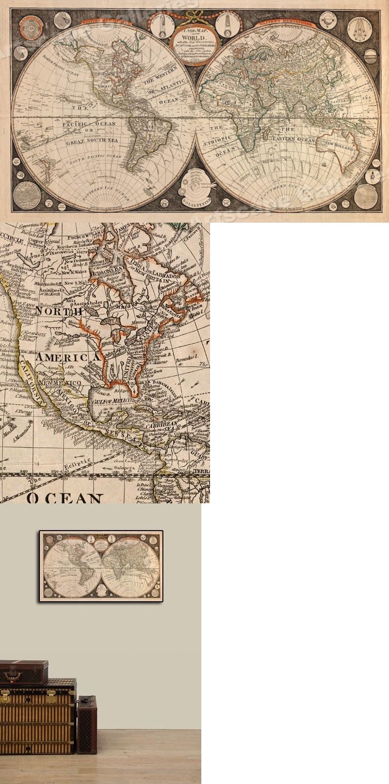 1799 Historic World Vintage Map Poster Discoveries By Capt Cook 14x24 Ebay Vintage Map Map Poster Historical