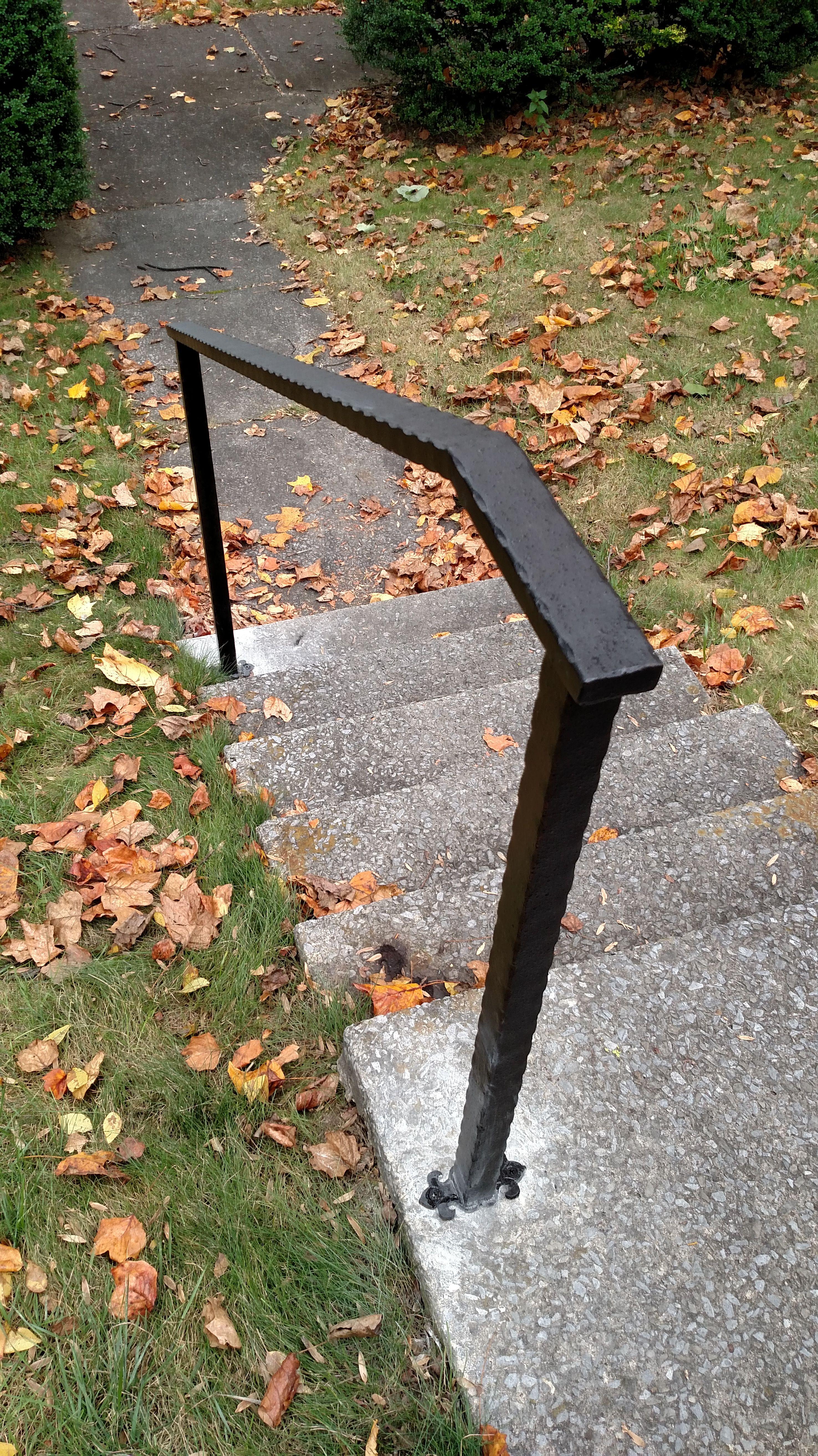 Simple Looking Hammered Tubing Custom Made Wrought Iron Railings