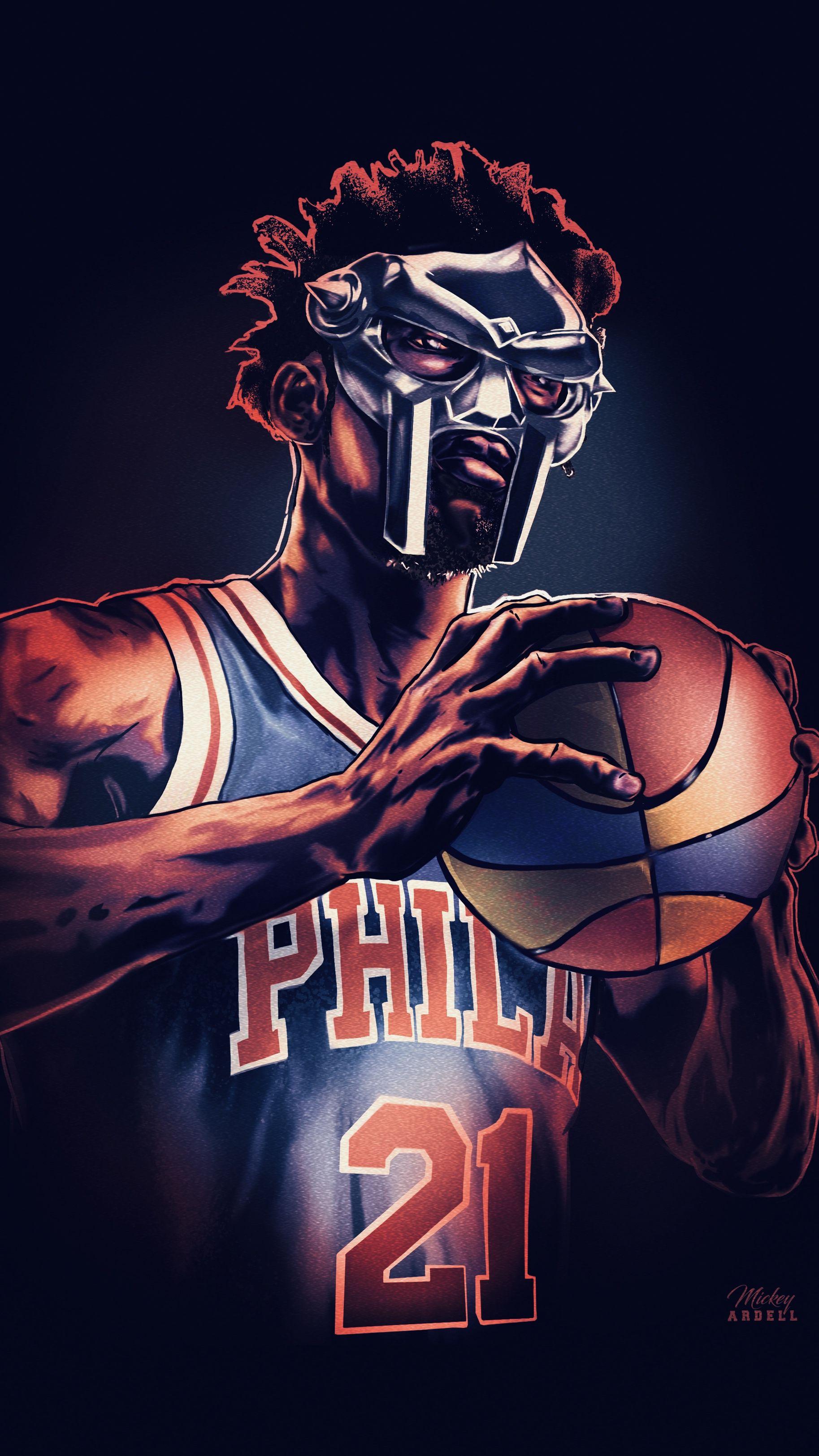 Joel Embiid Mf Doom Nba Hip Hop Art Mvp Basketball Best Nba Players Nba Wallpapers