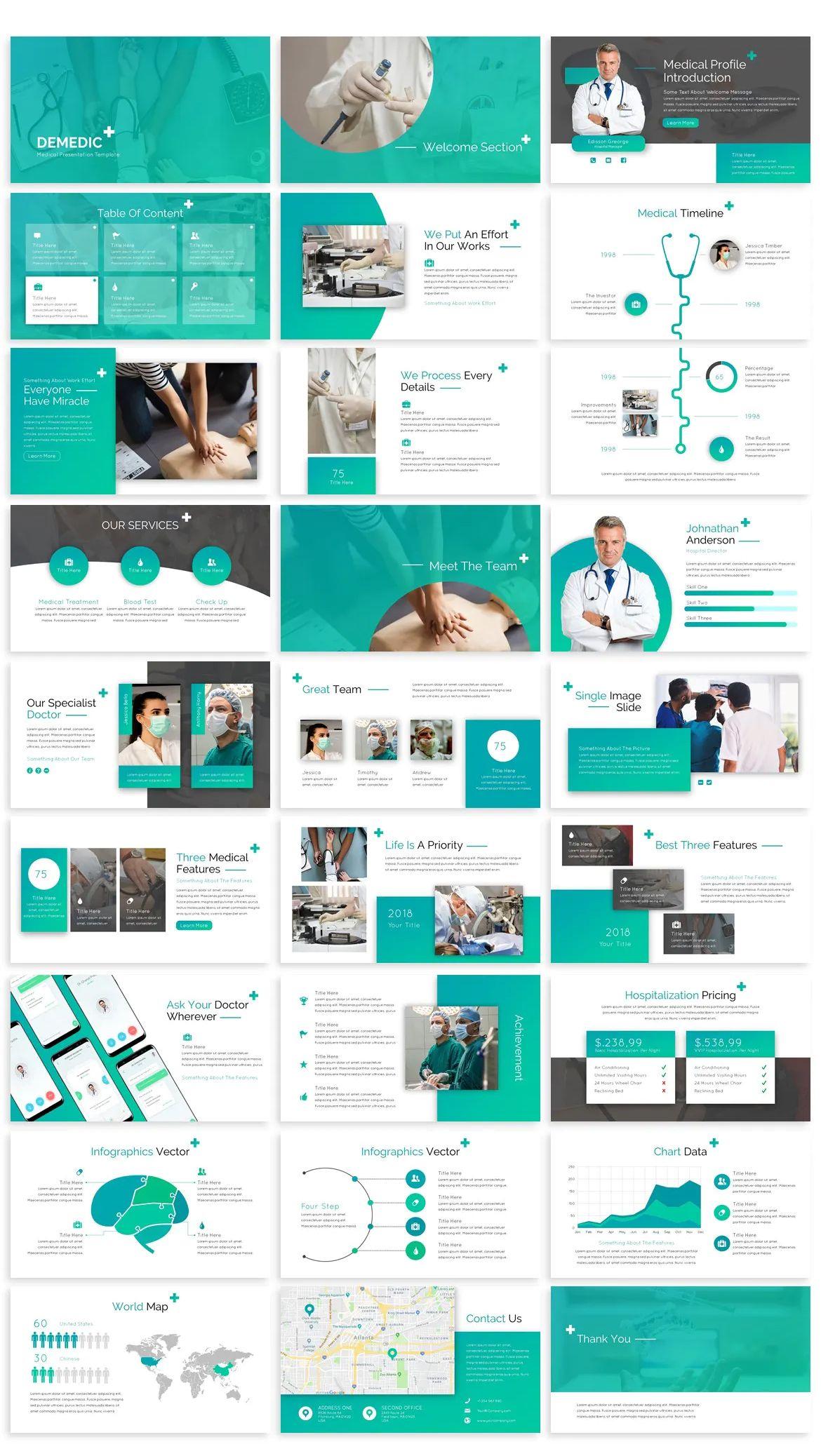 Medical Powerpoint Template Powerpoint Design Templates Presentation Design Template Graphic Design Marketing
