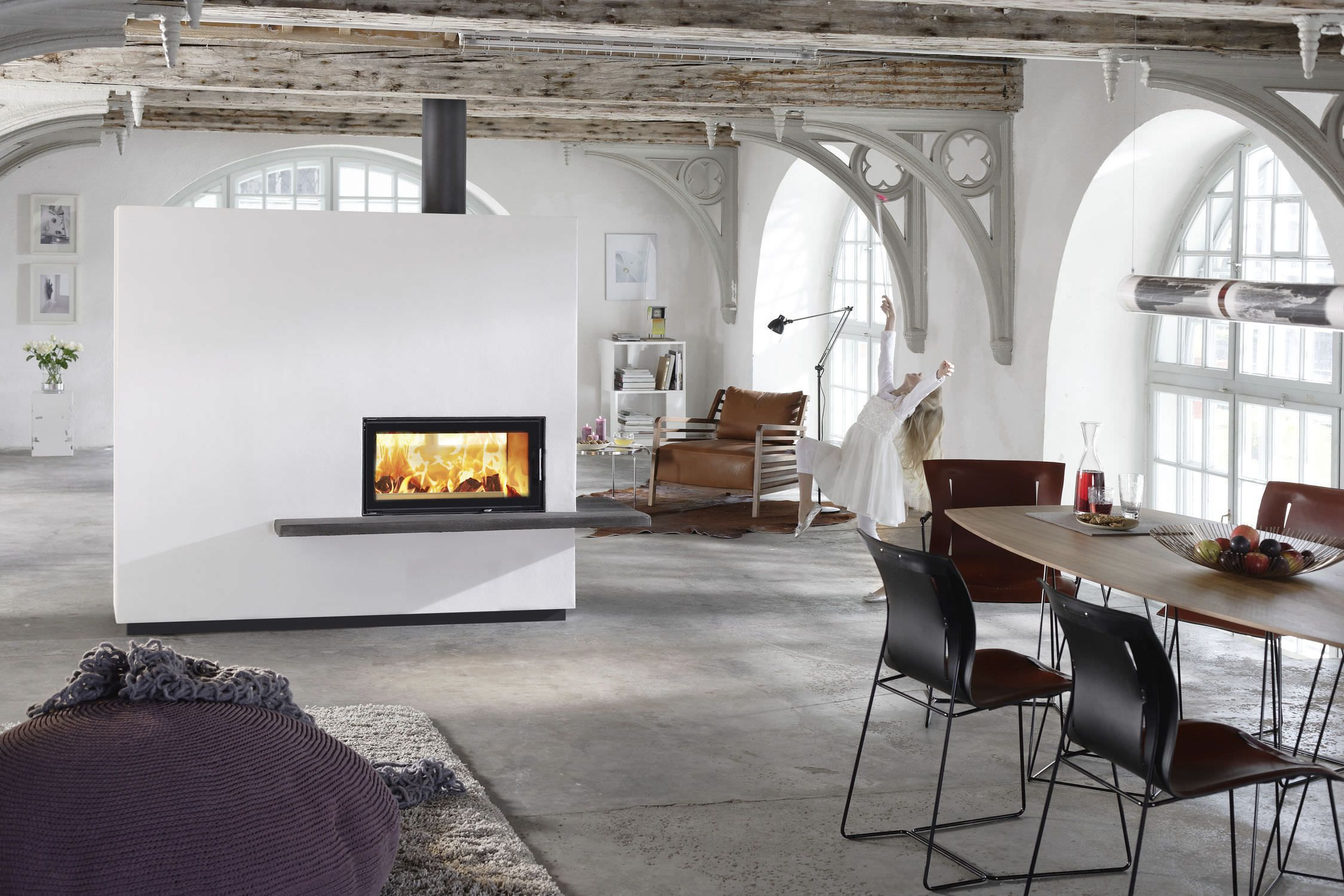 Ravishing White Wall Built In Double Sided Fireplace Insert With ...