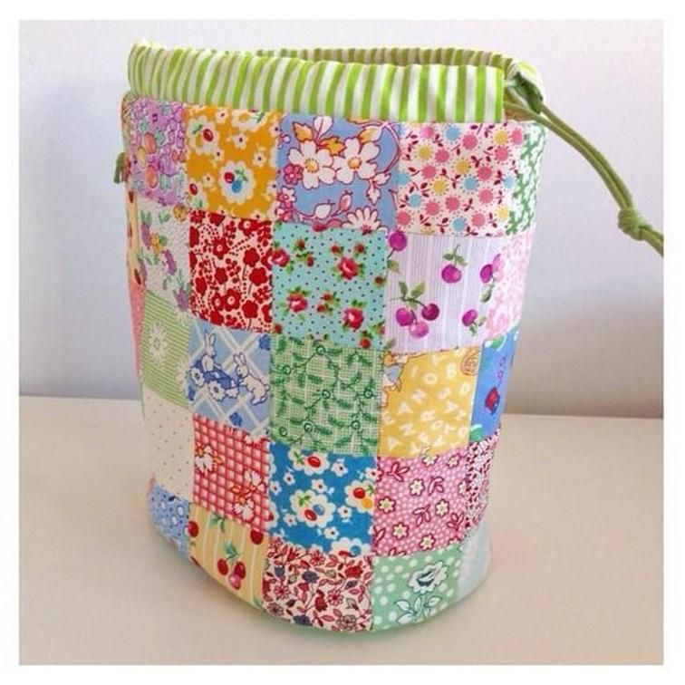 Patchwork drawstring bag pouch | Quilting, Drawstring bags and Bags