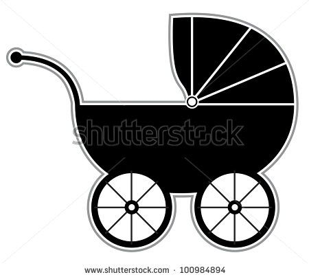 Baby Carriage Isolated Black And White Baby Carriage Silhouette By X7vector Via Shutterstock Baby Carriage Black And White Baby Baby Strollers