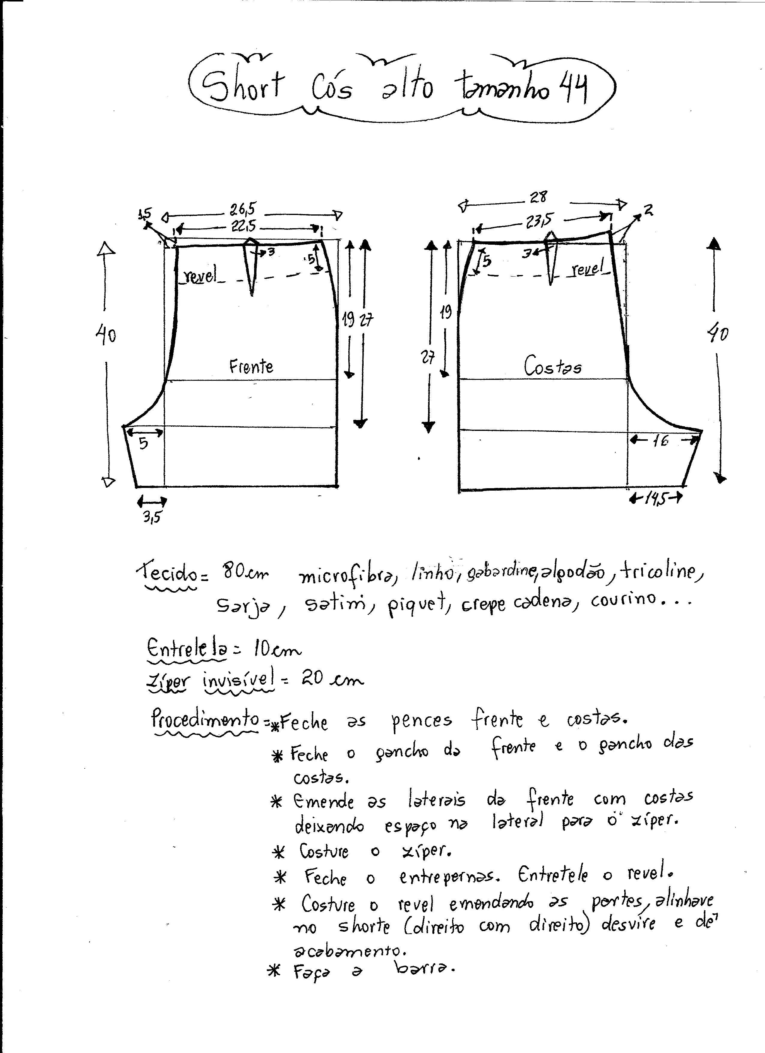 dc1320f7489 Short cintura alta   Molde   Short cintura alta, Modelagem de ...