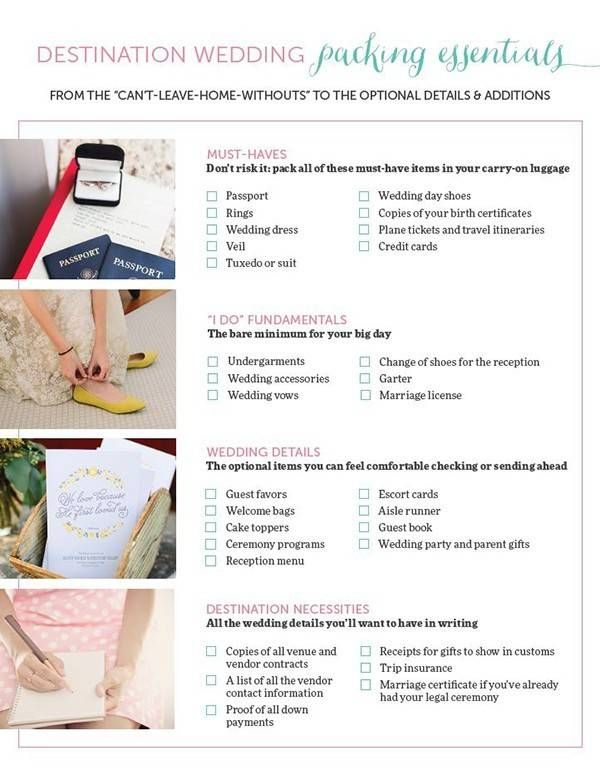 The Only Destination Wedding Packing List You Need Destination Wedding Packing List Destination Wedding Checklist Wedding Checklist