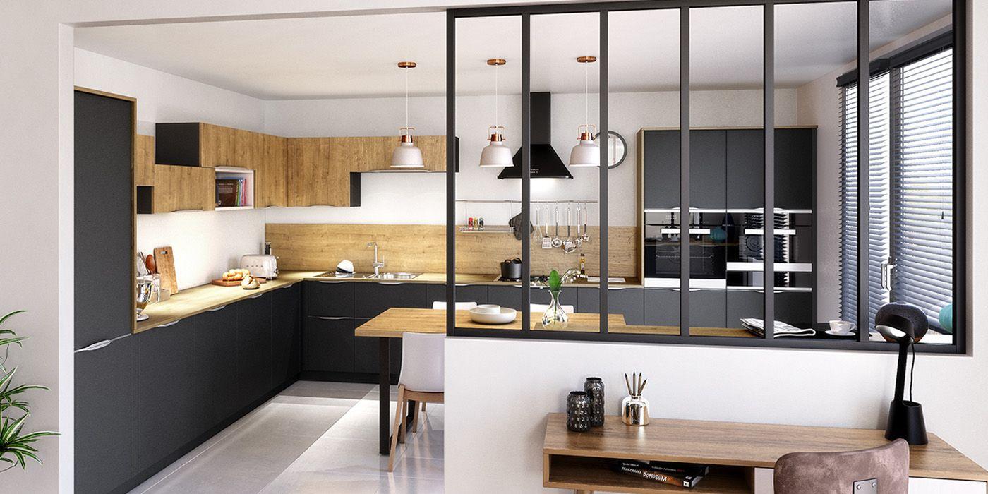 Atelier  Cuisine verriere, Separation cuisine salon, Idée déco