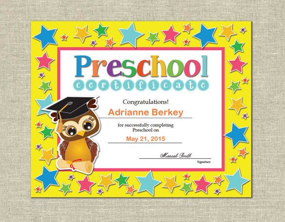 10+ Printable Preschool Certificate Templates u2013 Free Word, PDF - download free certificate templates