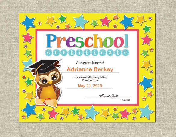 10 Printable Preschool Certificate Templates Free Word Pdf