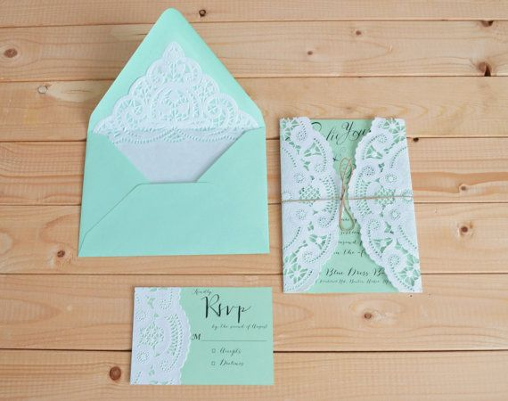 doily wedding invitation set with doily lined envelope and doily