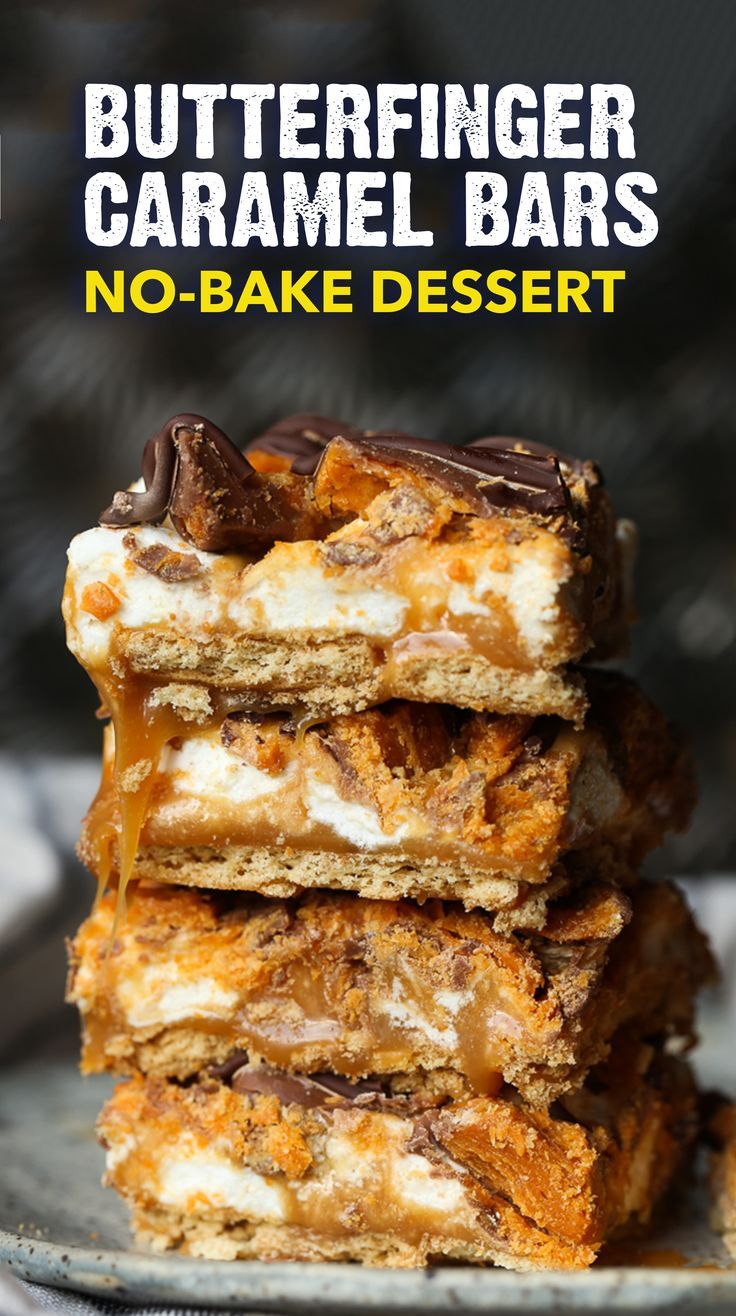 No Bake Butterfinger Caramel Bars | Easy Dessert Bars Recipe -   19 desserts Bars dads ideas
